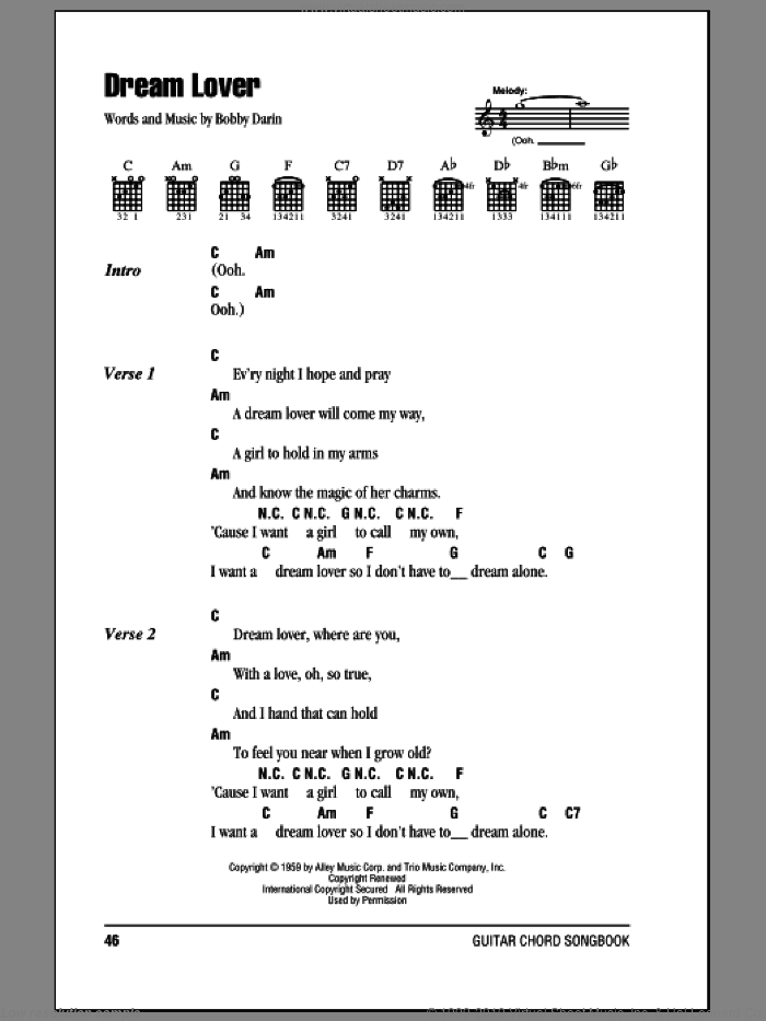 Dream Lover sheet music for guitar (chords) by Bobby Darin, intermediate skill level
