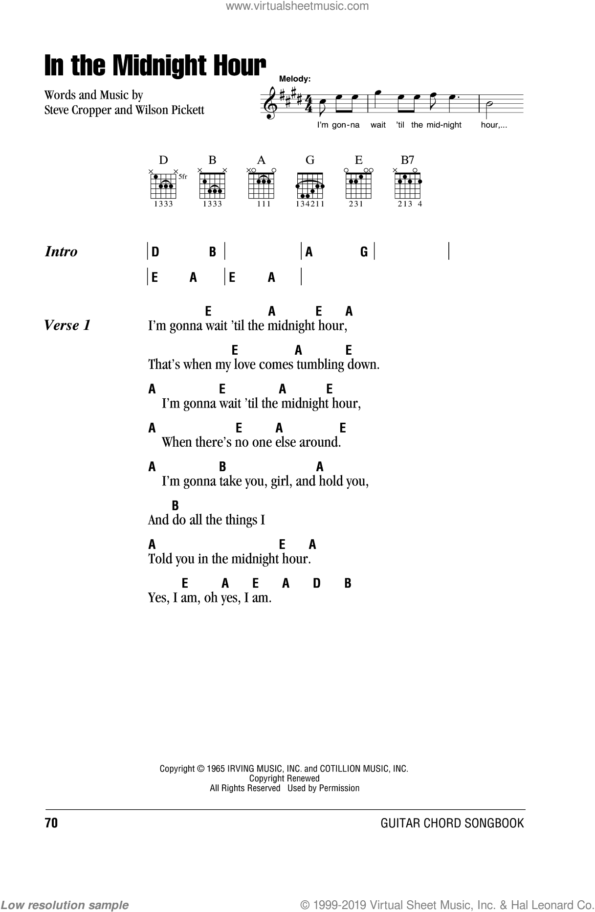 In The Midnight Hour sheet music for guitar (chords, lyrics, melody) by Steve Cropper