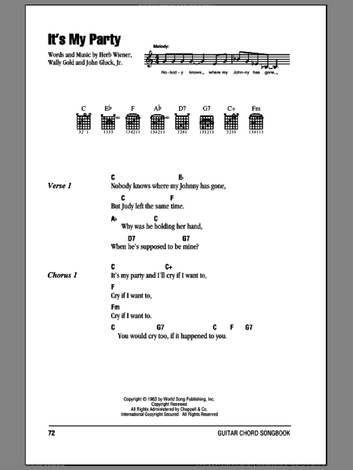 It's My Party sheet music for guitar (chords) by Lesley Gore, Herb Wiener, John Gluck Jr. and Wally Gold, intermediate skill level