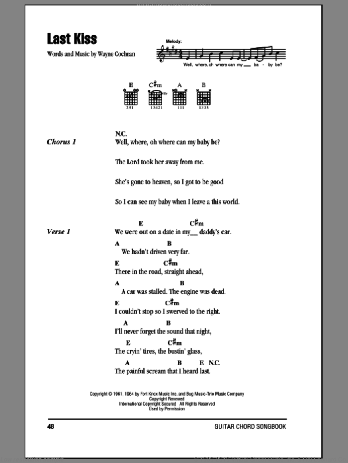 Last Kiss sheet music for guitar (chords) by Wayne Cochran. Score Image Preview.