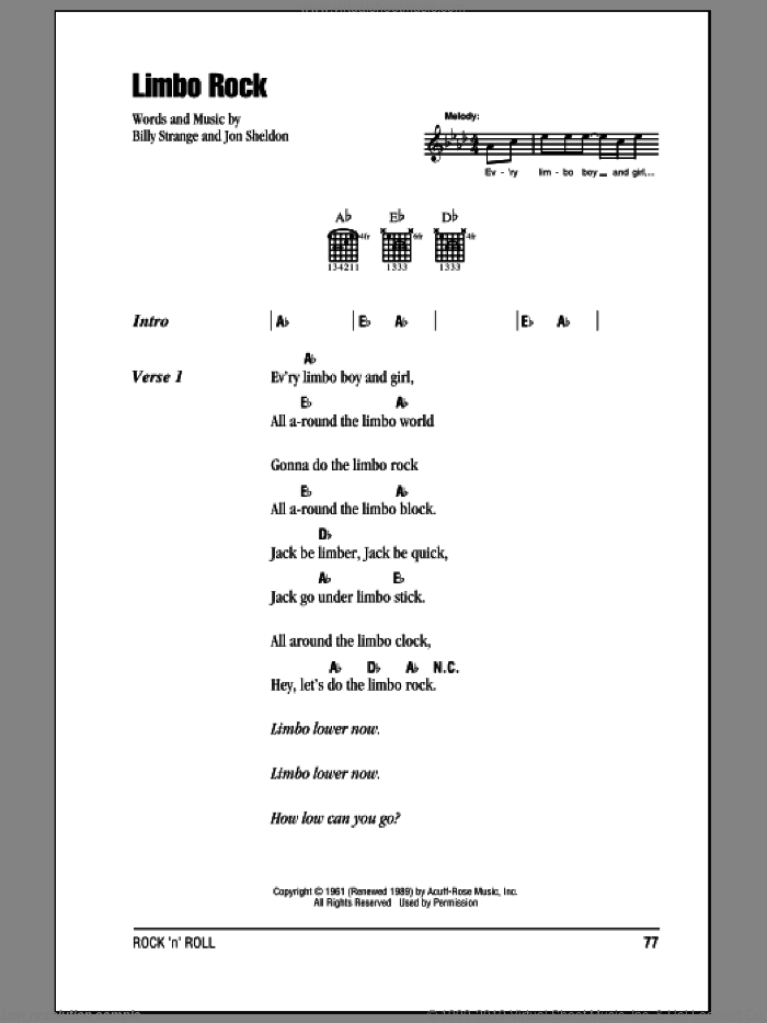 Limbo Rock sheet music for guitar (chords) by Chubby Checker, intermediate. Score Image Preview.
