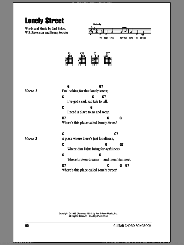 Lonely Street sheet music for guitar (chords) by Andy Williams and William Stevenson, intermediate. Score Image Preview.