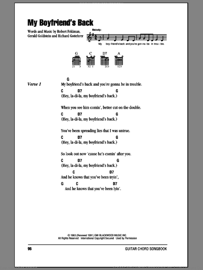 My Boyfriend's Back sheet music for guitar (chords) by Robert Feldman and Richard Gottehrer. Score Image Preview.