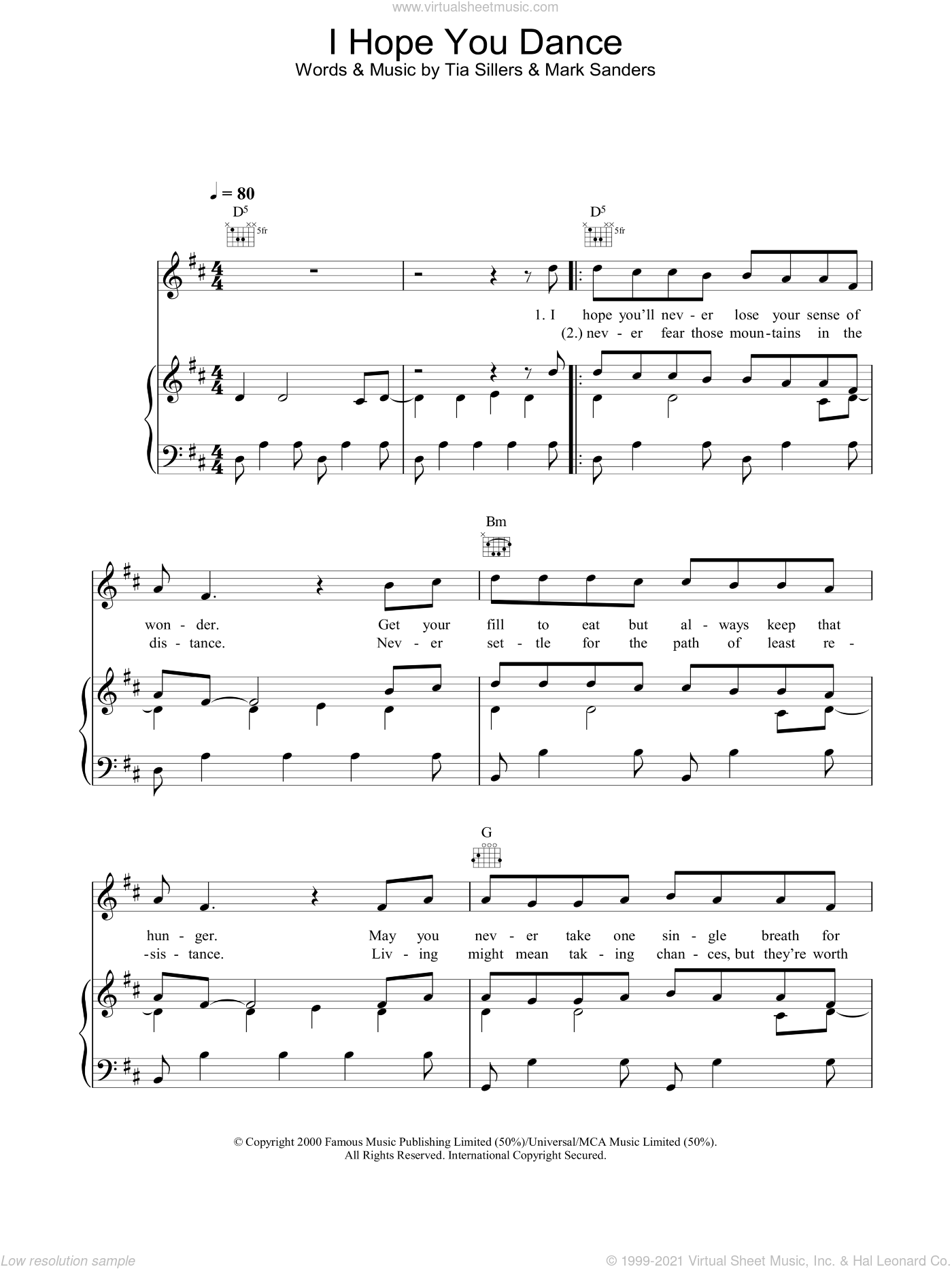 I Hope You Dance sheet music for voice, piano or guitar by Tia Sillers, Lee Ann Womack, Ronan Keating and Mark D. Sanders. Score Image Preview.