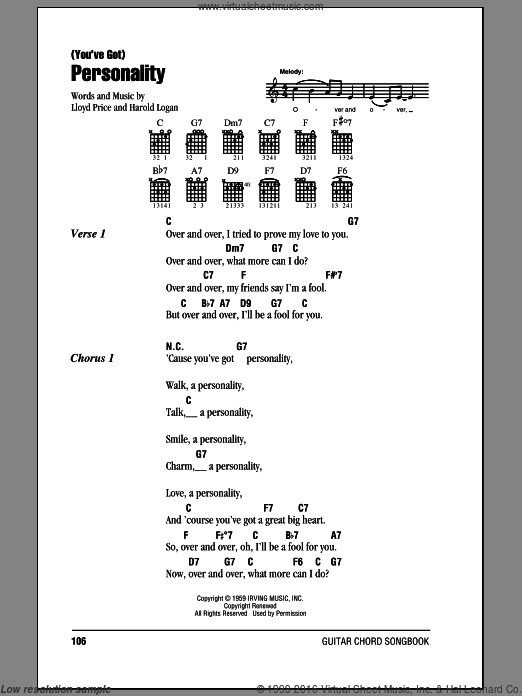 (You've Got) Personality sheet music for guitar (chords) by Harold Logan