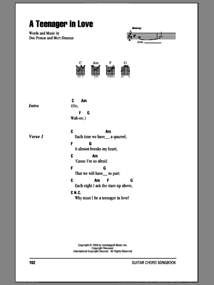 A Teenager In Love sheet music for guitar (chords) by Dion & The Belmonts