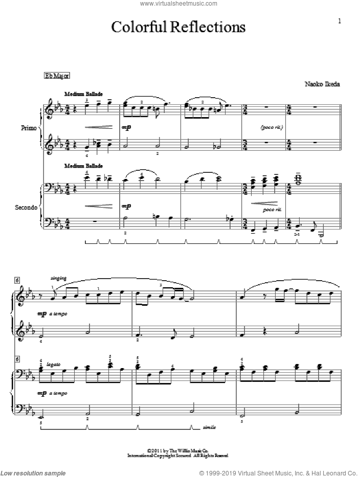 Colorful Reflections sheet music for piano four hands by Naoko Ikeda, intermediate skill level