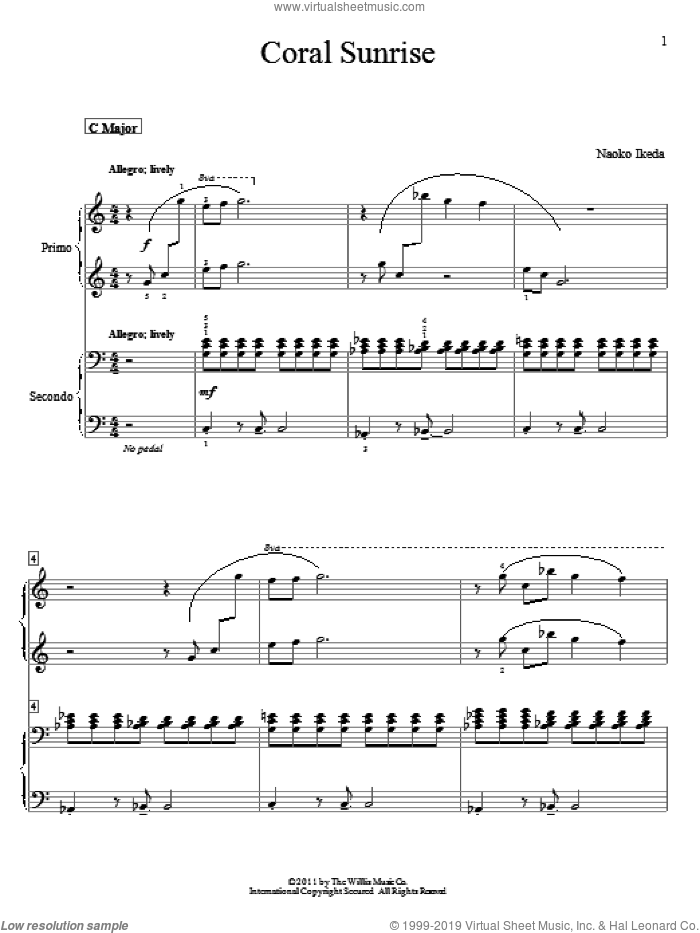 Coral Sunrise sheet music for piano four hands by Naoko Ikeda, intermediate skill level