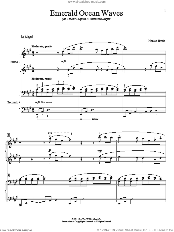 Emerald Ocean Waves sheet music for piano four hands by Naoko Ikeda, intermediate skill level