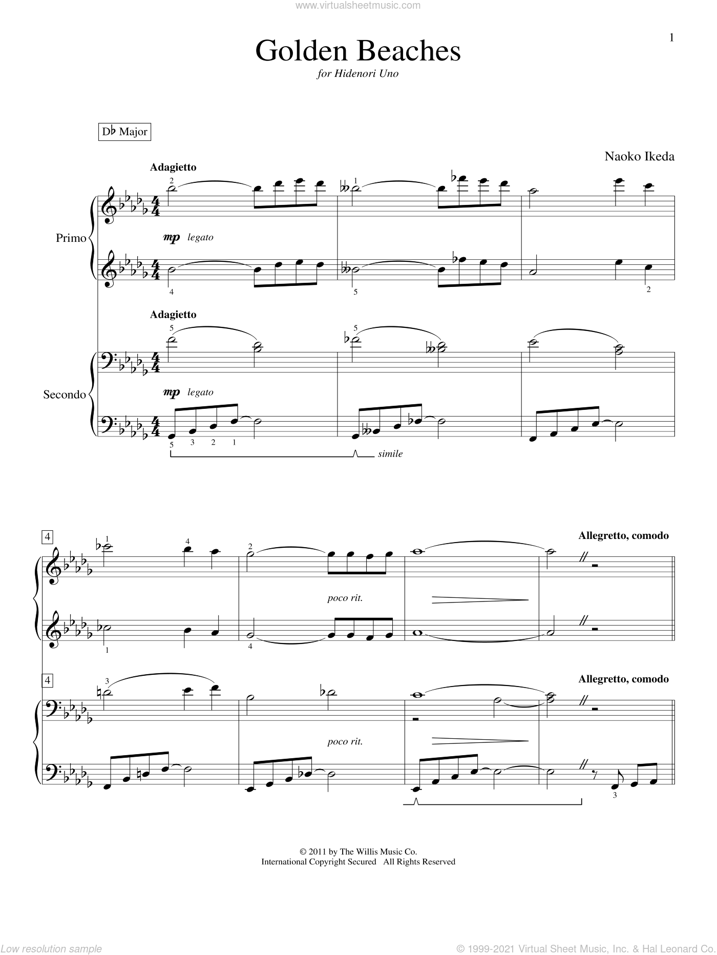 Golden Beaches sheet music for piano four hands by Naoko Ikeda, intermediate skill level