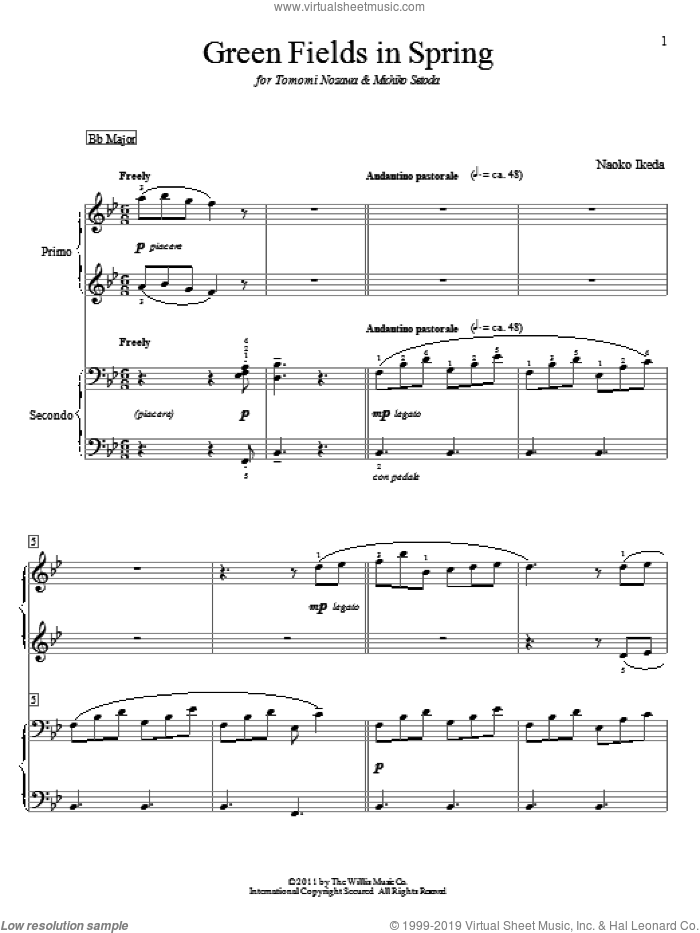 Green Fields In Spring sheet music for piano four hands (duets) by Naoko Ikeda, intermediate piano four hands. Score Image Preview.