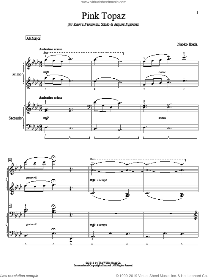 Pink Topaz sheet music for piano four hands by Naoko Ikeda, intermediate skill level