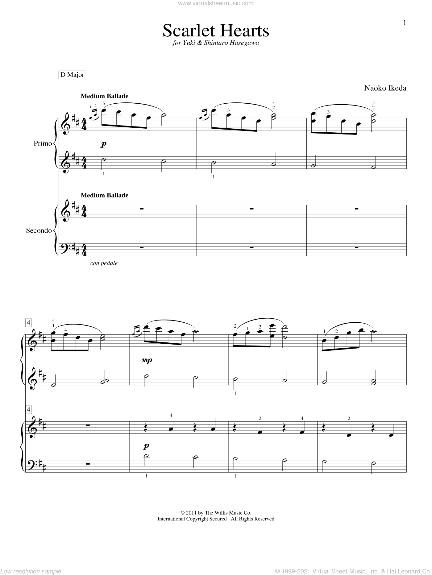 Scarlet Hearts sheet music for piano four hands by Naoko Ikeda, intermediate skill level