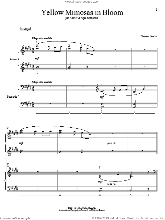 Yellow Mimosas In Bloom sheet music for piano four hands (duets) by Naoko Ikeda