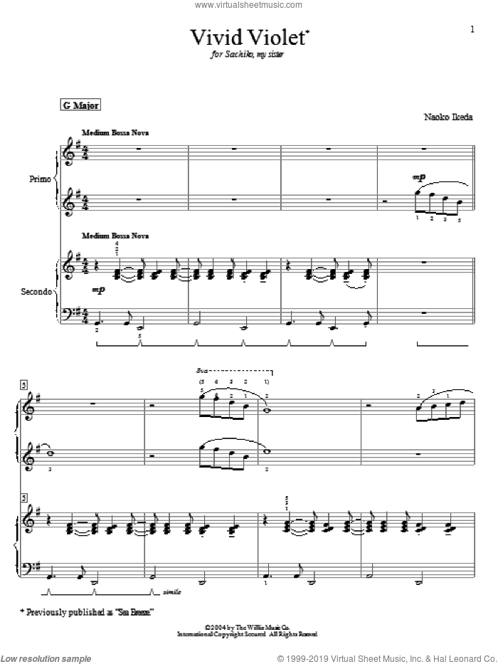 Vivid Violet (Sea Breeze) sheet music for piano four hands (duets) by Naoko Ikeda. Score Image Preview.