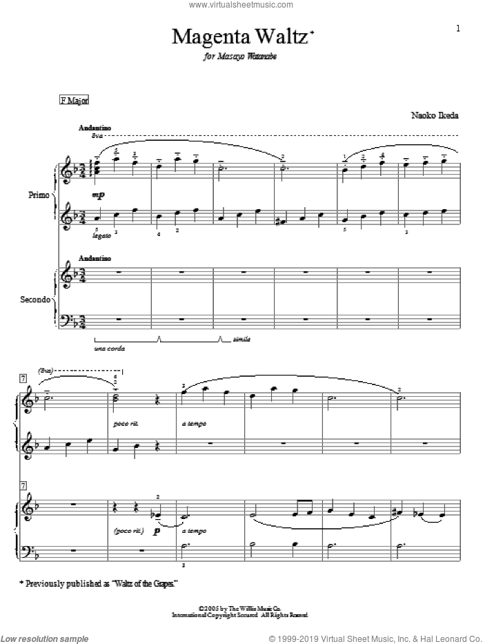 Magenta Waltz (Waltz Of The Grapes) sheet music for piano four hands (duets) by Naoko Ikeda. Score Image Preview.