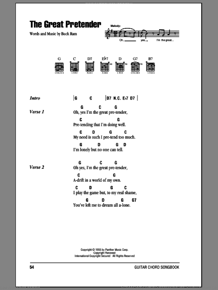 The Great Pretender sheet music for guitar (chords) by The Platters and Buck Ram, intermediate. Score Image Preview.