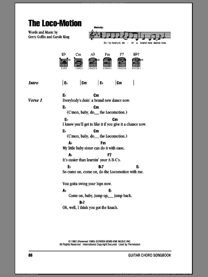The Loco-Motion sheet music for guitar (chords) by Kylie Minogue, Carole King and Gerry Goffin, intermediate skill level