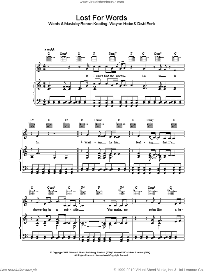 Lost For Words sheet music for voice, piano or guitar by Ronan Keating and Wayne Hector, intermediate voice, piano or guitar. Score Image Preview.