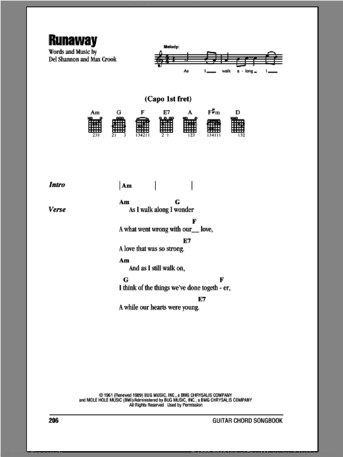 Runaway sheet music for guitar (chords) by Del Shannon and Max Crook, intermediate skill level