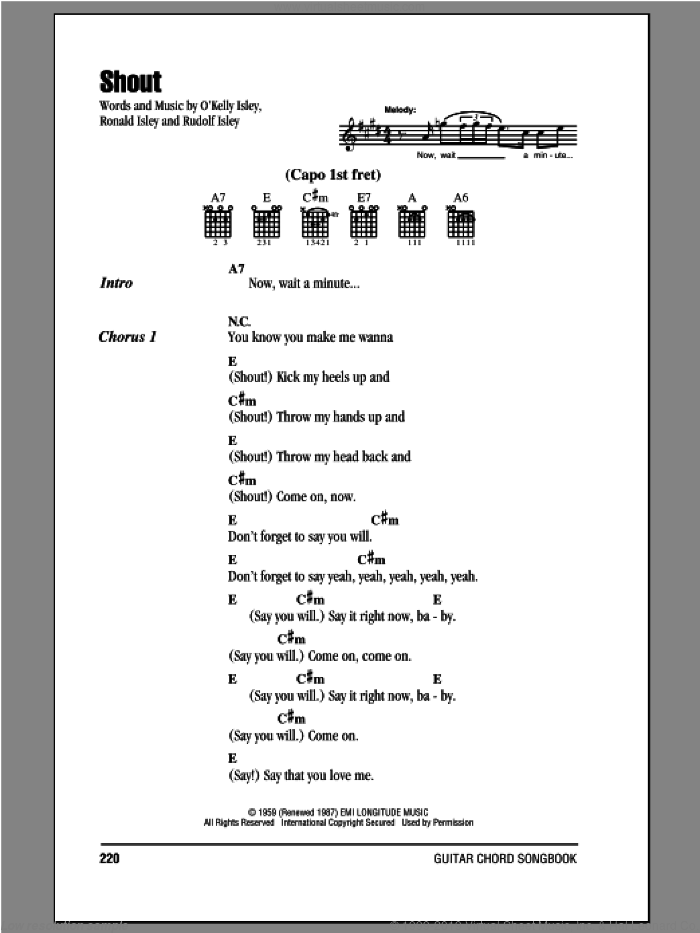Shout sheet music for guitar (chords) by Rudolph Isley, The Isley Brothers, O Kelly Isley and Ronald Isley. Score Image Preview.