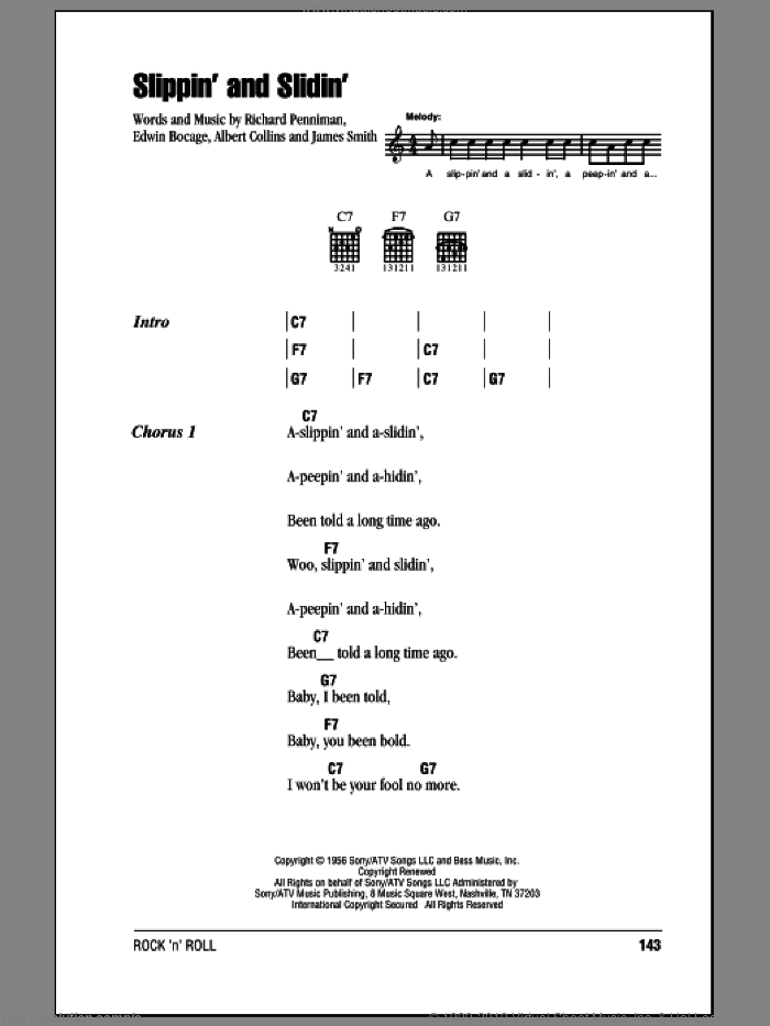 Slippin' And Slidin' sheet music for guitar (chords) by Richard Penniman and Albert Collins. Score Image Preview.