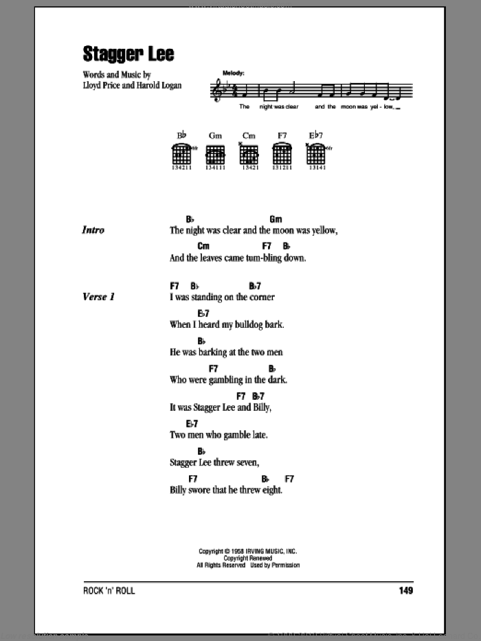 Stagger Lee sheet music for guitar (chords) by Lloyd Price and Harold Logan, intermediate skill level