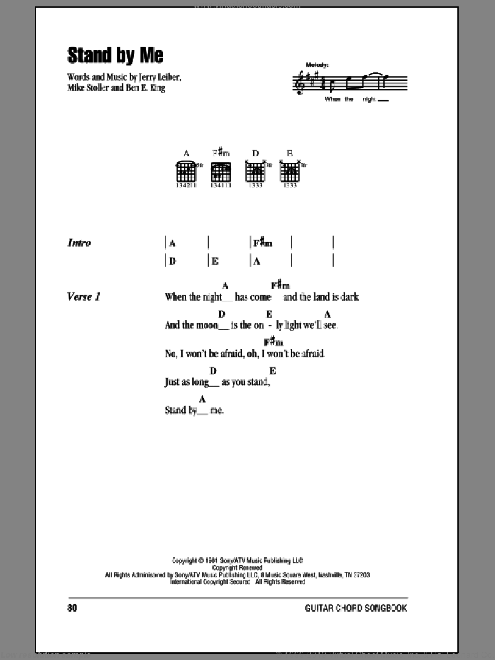 Stand By Me sheet music for guitar (chords) by Mike Stoller, Ben E. King and Jerry Leiber. Score Image Preview.