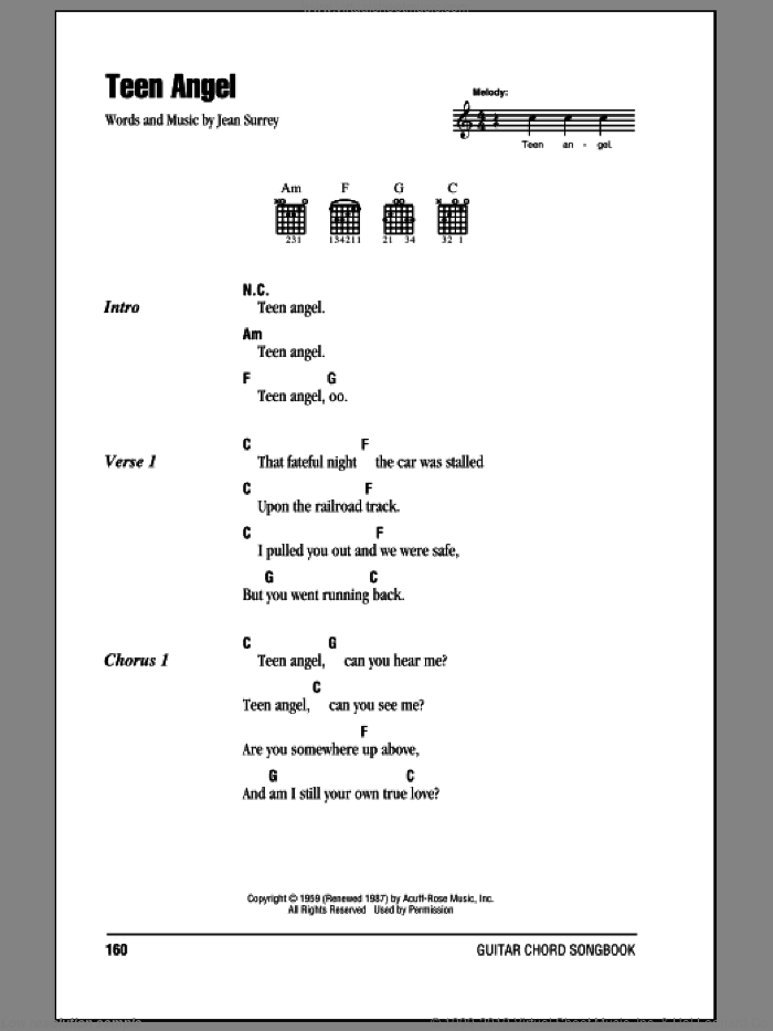 Teen Angel sheet music for guitar (chords) by Mark Dinning. Score Image Preview.