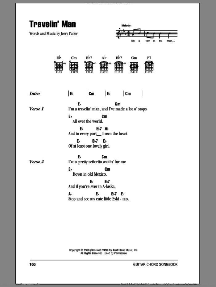 Travelin' Man sheet music for guitar (chords) by Jerry Fuller and Ricky Nelson. Score Image Preview.