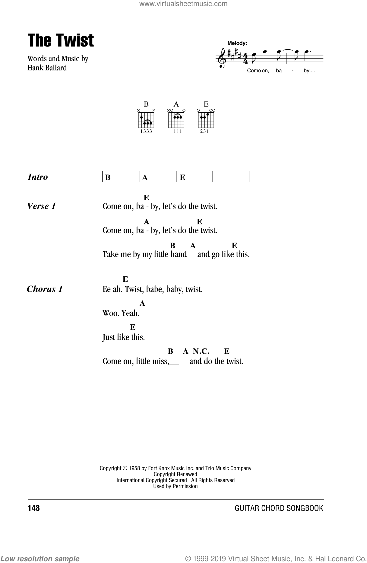 The Twist sheet music for guitar (chords) by Hank Ballard and Chubby Checker. Score Image Preview.