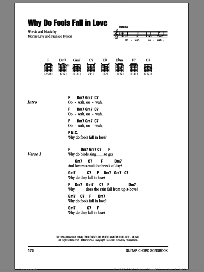 Teenagers Why Do Fools Fall In Love Sheet Music For Guitar Chords