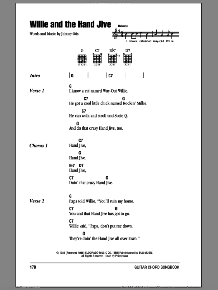 Willie And The Hand Jive sheet music for guitar (chords) by Johnny Otis and Eric Clapton