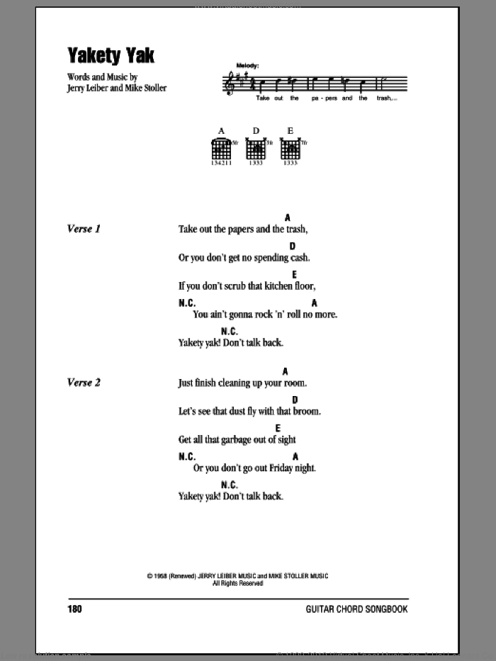 Yakety Yak sheet music for guitar (chords) by The Coasters and Mike Stoller. Score Image Preview.