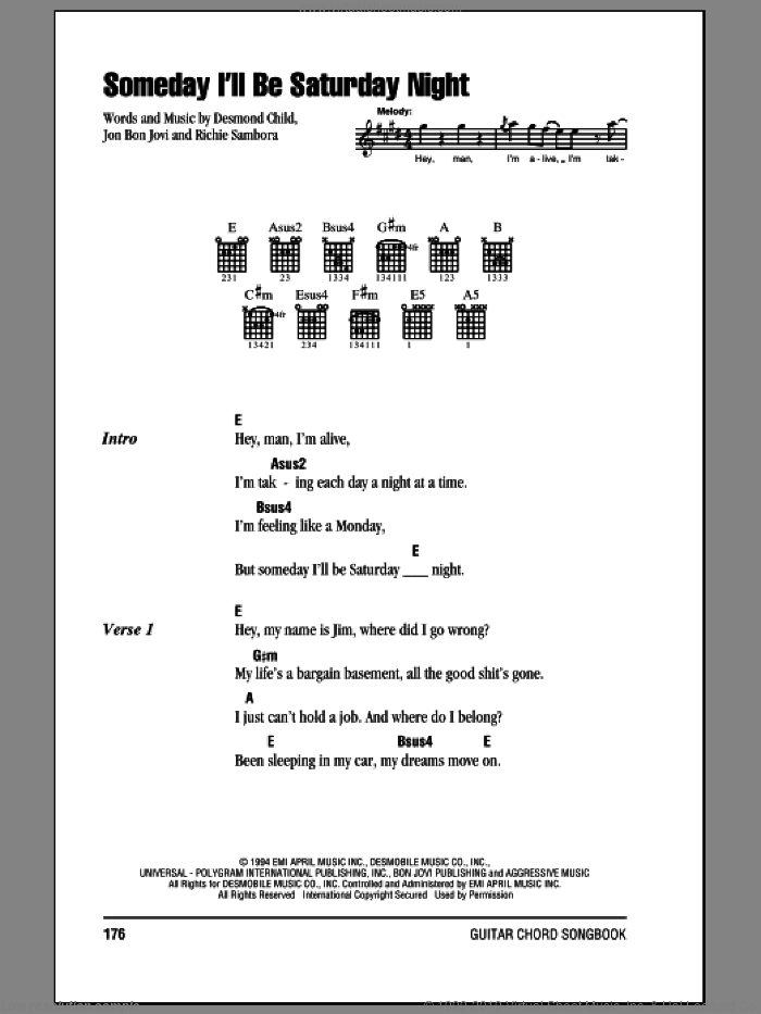 Someday I'll Be Saturday Night sheet music for guitar (chords) by Bon Jovi, Desmond Child and Richie Sambora, intermediate. Score Image Preview.