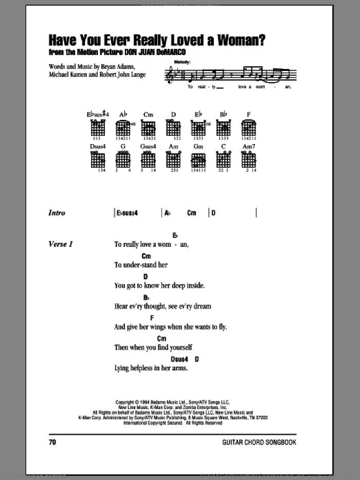Have You Ever Really Loved A Woman? sheet music for guitar (chords) by Bryan Adams, Michael Kamen and Robert John Lange, intermediate skill level