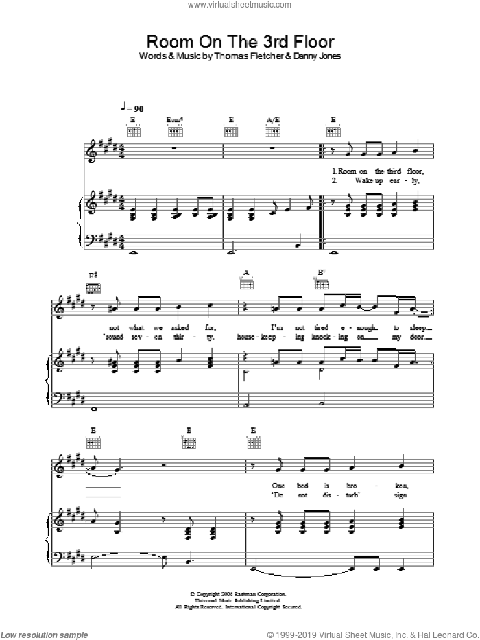 Room On The 3rd Floor sheet music for voice, piano or guitar by McFly, Danny Jones and Thomas Fletcher, intermediate. Score Image Preview.