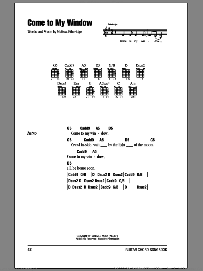 Come To My Window sheet music for guitar (chords) by Melissa Etheridge, intermediate skill level