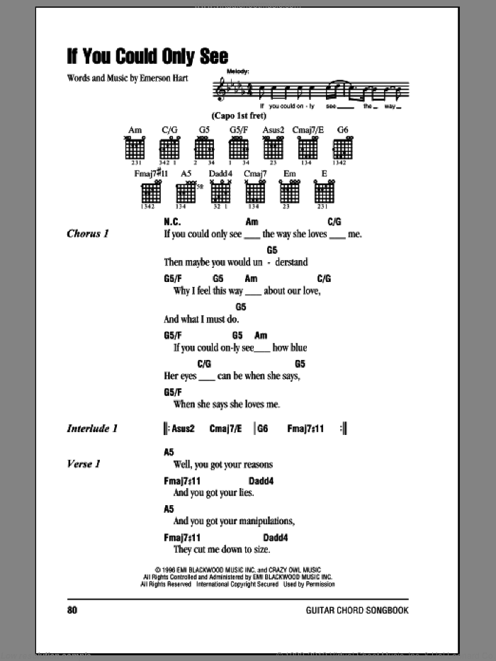If You Could Only See sheet music for guitar (chords) by Tonic and Emerson Hart, intermediate skill level