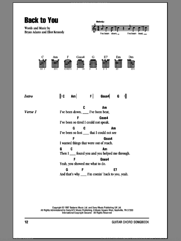 Back To You sheet music for guitar (chords) by Bryan Adams and Eliot Kennedy. Score Image Preview.