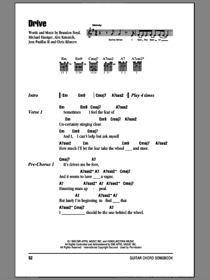 Drive sheet music for guitar (chords) by Incubus. Score Image Preview.