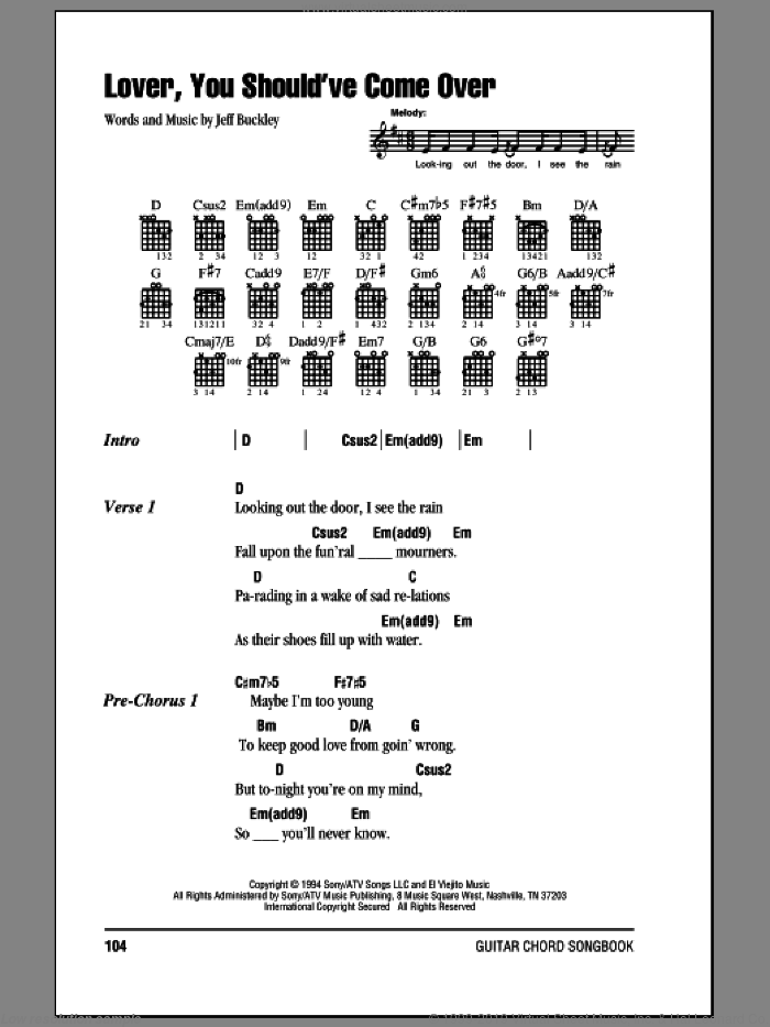Lover, You Should've Come Over sheet music for guitar (chords) by Jeff Buckley. Score Image Preview.