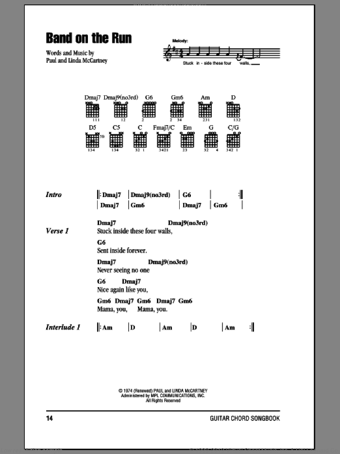 Band On The Run sheet music for guitar (chords) by Paul McCartney, Paul McCartney and Wings and Linda McCartney, intermediate skill level