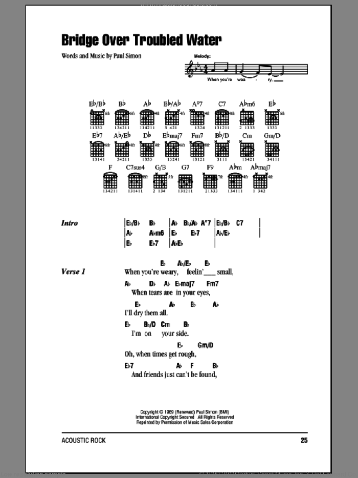 Bridge Over Troubled Water sheet music for guitar (chords) by Paul Simon and Simon & Garfunkel. Score Image Preview.