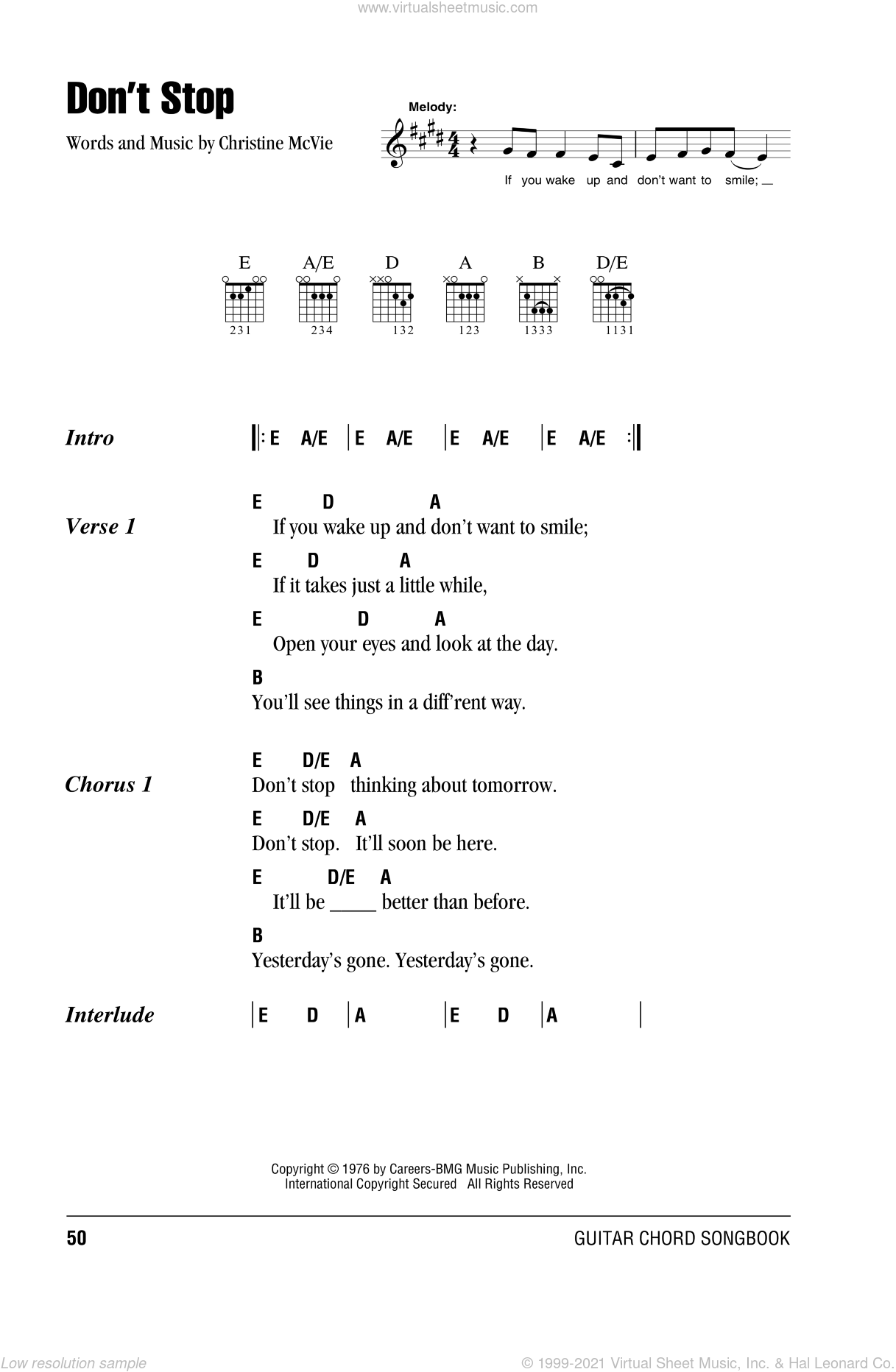 Don't Stop sheet music for guitar (chords) by Fleetwood Mac. Score Image Preview.