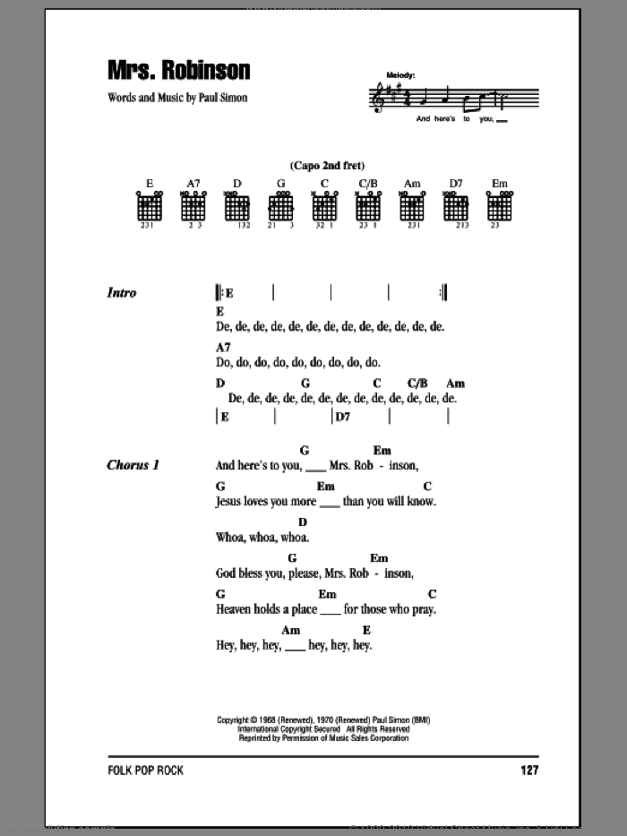 Mrs. Robinson sheet music for guitar (chords) by Paul Simon and Simon & Garfunkel. Score Image Preview.