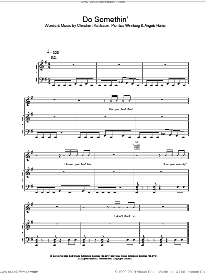 Do Somethin' sheet music for voice, piano or guitar by Britney Spears, Angela Hunte, Christian Karlsson and Pontus Winnberg, intermediate skill level