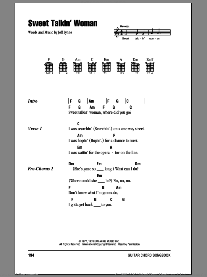 Orchestra Sweet Talkin Woman Sheet Music For Guitar Chords