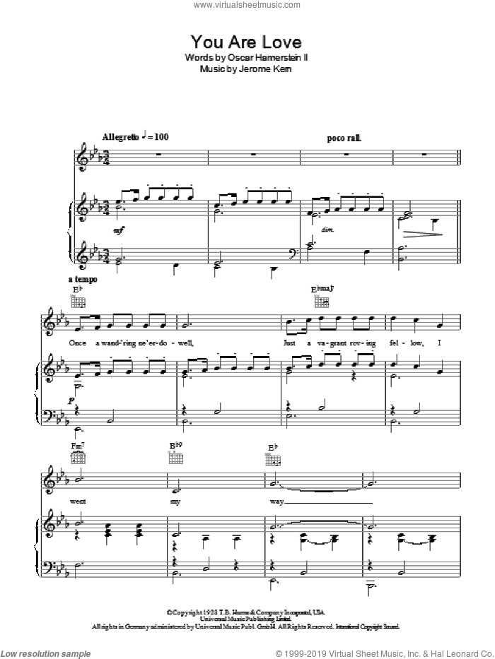 You Are Love sheet music for voice, piano or guitar by Rodgers & Hammerstein, Flower Drum Song (Musical), Oscar Hammerstein and Richard Rodgers, wedding score, intermediate skill level