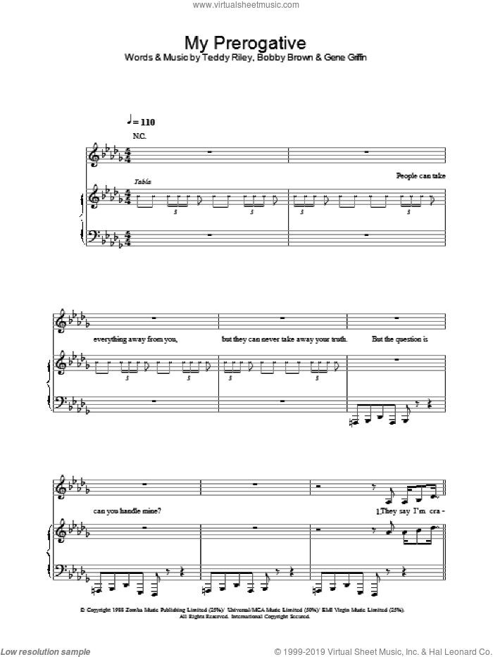 My Prerogative sheet music for voice, piano or guitar by Britney Spears, Bobby Brown, Gene Griffin and Teddy Riley, intermediate